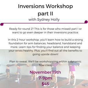 Inversions Workshoppart II